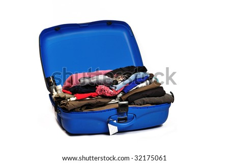 full suitcase - stock photo