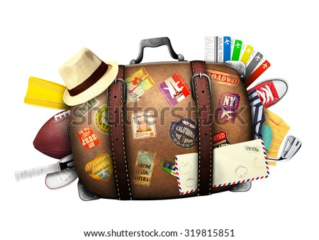 Full suitcase of a traveler with travel stickers - stock photo