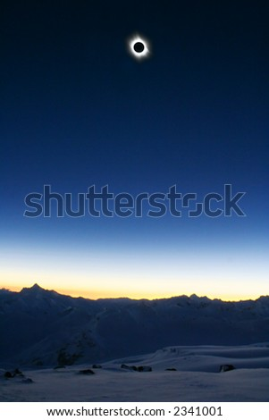Full Sun Eclipse 2006 from Mt. Elbrus (Altitude 3900 meters above the Sea) - stock photo