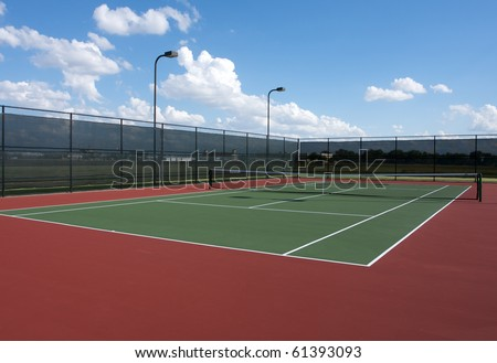 Full Tennis Court and Net