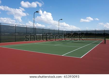 Full Tennis Court and Net - stock photo