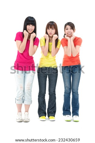 Full Three young women having a good time chatting and laughing - stock photo