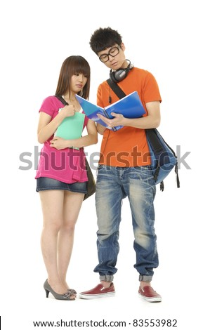 Full two Smiling Casual Dressed College Student on Isolated White Background - stock photo