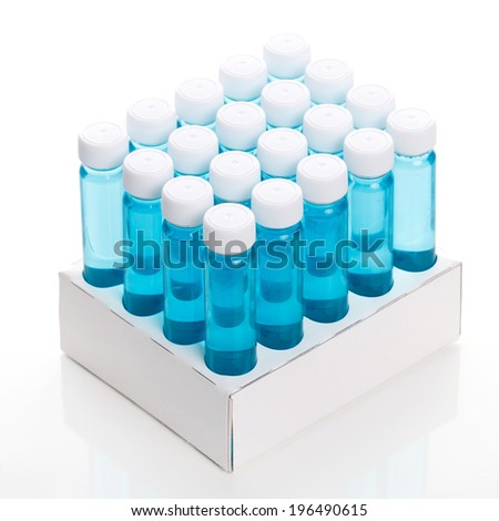 Full vial with vaccine on a white background - stock photo