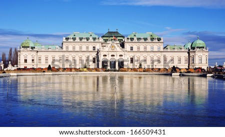 Full view of a baroque Upper Palace in historical complex Belvedere, Vienna, Austria. It is a popular touristic attraction with famous museum and beautiful park