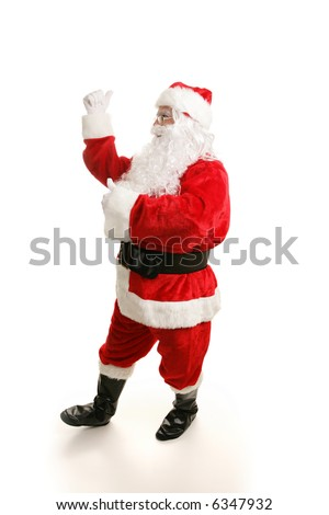 Full view of a happy dancing Santa Clause.  White background. - stock photo