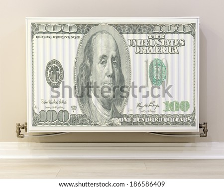 full view of a white radiator  with 100 dollar bill texture - stock photo