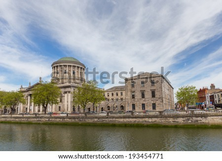 Full view of Four Courts in Dublin city centre