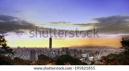 Full view of Taipei, Taiwan evening skyline. - stock photo