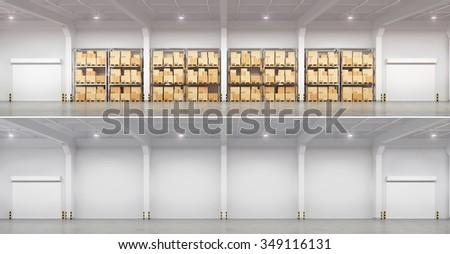 Full warehouse and empty. 3d illustration. - stock photo
