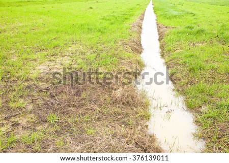 Full water ditch in a field after torrential rain - stock photo