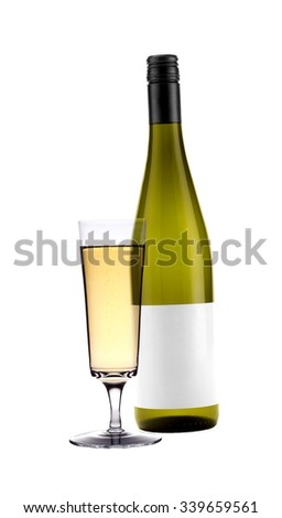 Full white wine glass goblet and bottle isolated - stock photo