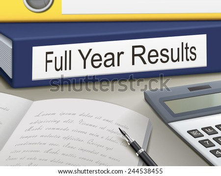 full year results binders isolated on the office table - stock photo
