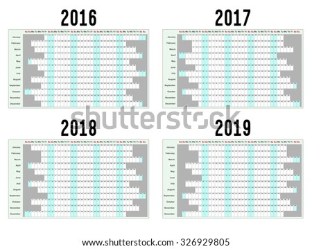 Full year wall planners for 2016, 2017, 2018 and 2019