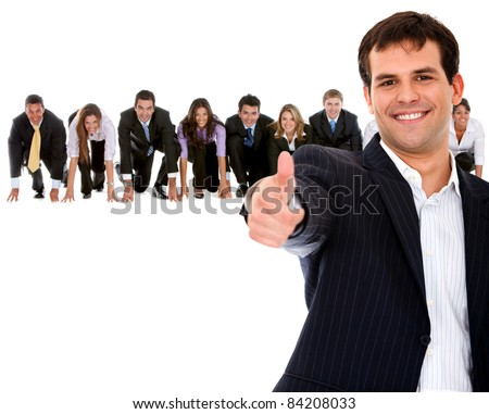 Fullbody business man leading a competitive team ? isolated - stock photo