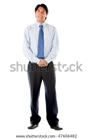 Fullbody business man standing isolated over a white background