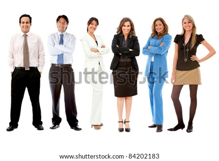 Fullbody business team - isolated over a white background - stock photo