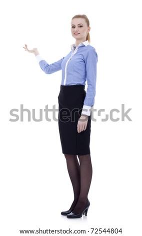 Fullbody business woman presenting something, isolated on white - stock photo