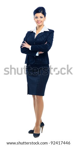 Fullbody business woman smiling isolated over a white background - stock photo