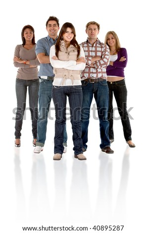 Fullbody casual group isolated over a white background