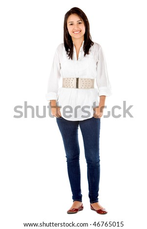 Fullbody casual woman smiling - isolated over a white background - stock photo