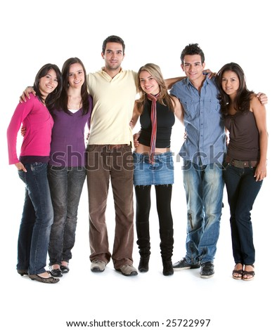 Fullbody group of friends smiling isolated