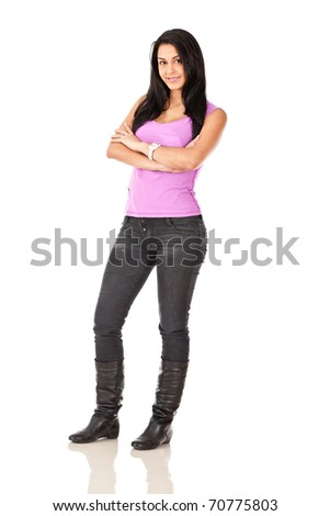 Fullbody young woman - isolated over a white background - stock photo
