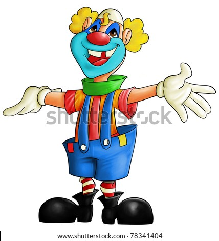 fullcolor clown smiling with his arms open