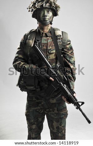 fully armed and equipped soldier
