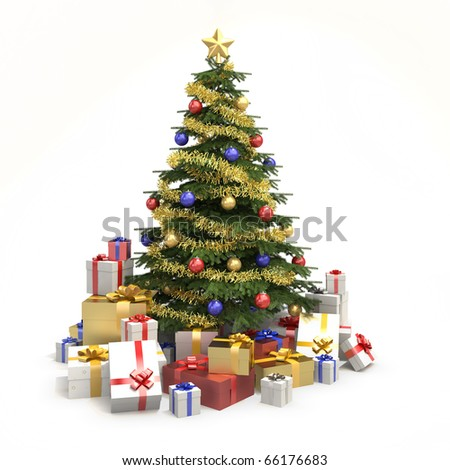Fully decorated christmas tree with many presents and isolated on white background - stock photo