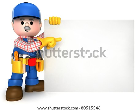 Fully equiped craftsman mascot - stock photo