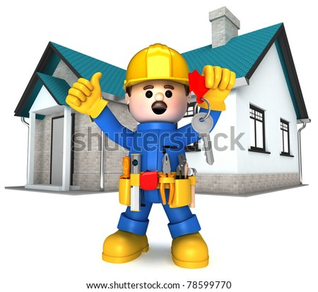 Fully equipped craftsman mascot - stock photo