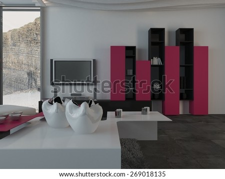 Fully Furnished Modern Architectural Interior House Design with Furniture and Appliances. 3d Rendering. - stock photo
