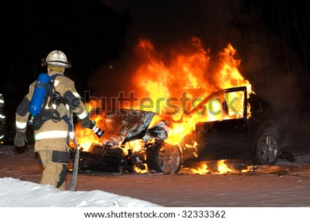 Fully Involved Vehicle Fire - stock photo