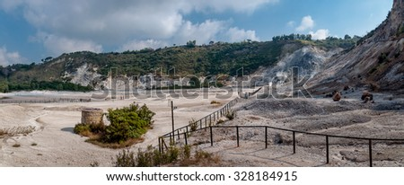 Fumarole and inside crater view of active vulcano Solfatara di Pozzuoli near Napoli - Italy - stock photo