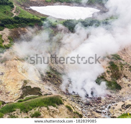 Fumarole fields on the small Valley of Geysers near Petropavlovsk - Kamchatka, Russia - stock photo