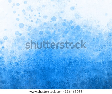 fun abstract blue background on white paper of circle bubbles in distressed vintage grunge background texture design, old faded sky blue color, faint whimsical grungy round shapes or polka dot spots - stock photo