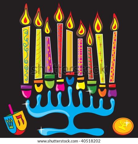 Fun and colorful menorah - stock photo
