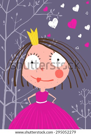 Fun and Cute Little Princess in Dark Forest with Love. Colored greeting card for little kids holidays with a curious princess in beautiful dress. Raster variant. - stock photo