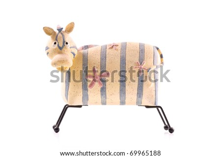 Fun and Playful Zebra Shaped Piggy Bank - stock photo