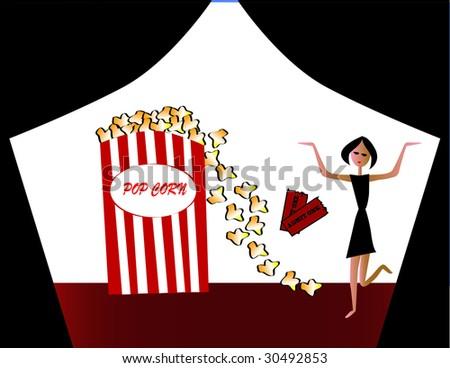 Fun at the theatre - stock photo