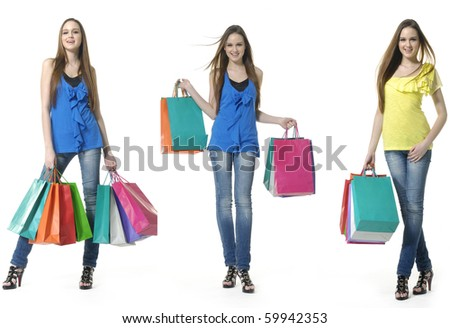 fun beauty three girls out shopping with colored bags, standing full, collage - stock photo
