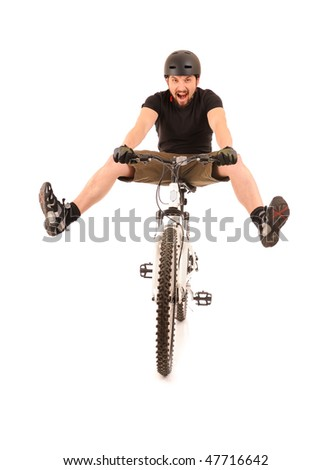 Fun bicyclist isolated on white, studio shot. - stock photo