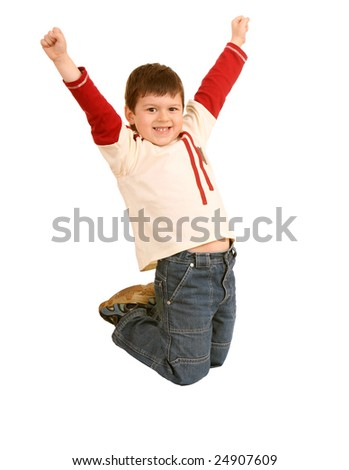 Fun boy in jeans high jump. Isolated. - stock photo