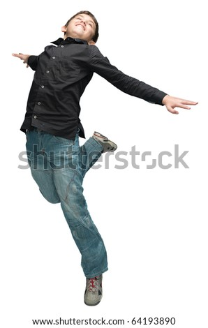 Fun boy jumping a over white background - stock photo