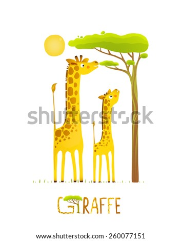 Fun Cartoon African Giraffe Animals Eating Foliage. Brightly colored giraffe child and mom. Raster variant. - stock photo