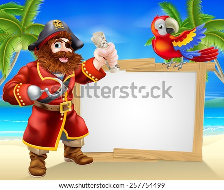 Fun cartoon pirate beach sign illustration of a fun cartoon pirate on a beach holding a treasure map with his parrot on the sign and palm trees in the background - stock photo