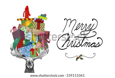 fun Christmas illustration of moose, huge piles of wrapped presents in antlers, funny humorous holiday image with Merry Christmas typography text, cute moose bearing gifts with bows ribbons and tags - stock photo