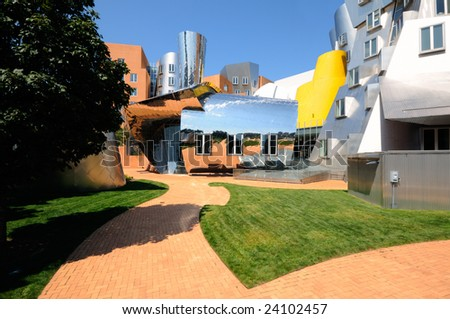 Fun, colorful, irregular, postmodern architecture of MIT Stata Center in Cambridge, Massachusetts - stock photo