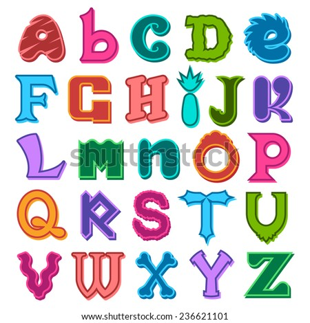 Fun complete colorful set of different shaped alphabet letters in the colors of the rainbow in upper and lower case for kids, scrapbooking and decorative text - stock photo